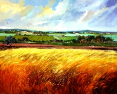 Landscape original expressionist acrylic painting