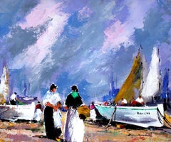 Boats and Fishermen Landscape original expressionist acrylic painting