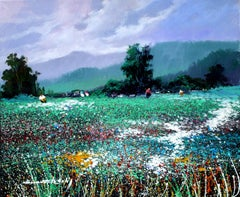 green  Landscape original expressionist acrylic painting
