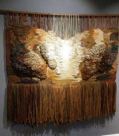 abstract. original. Ocher and white tapestry