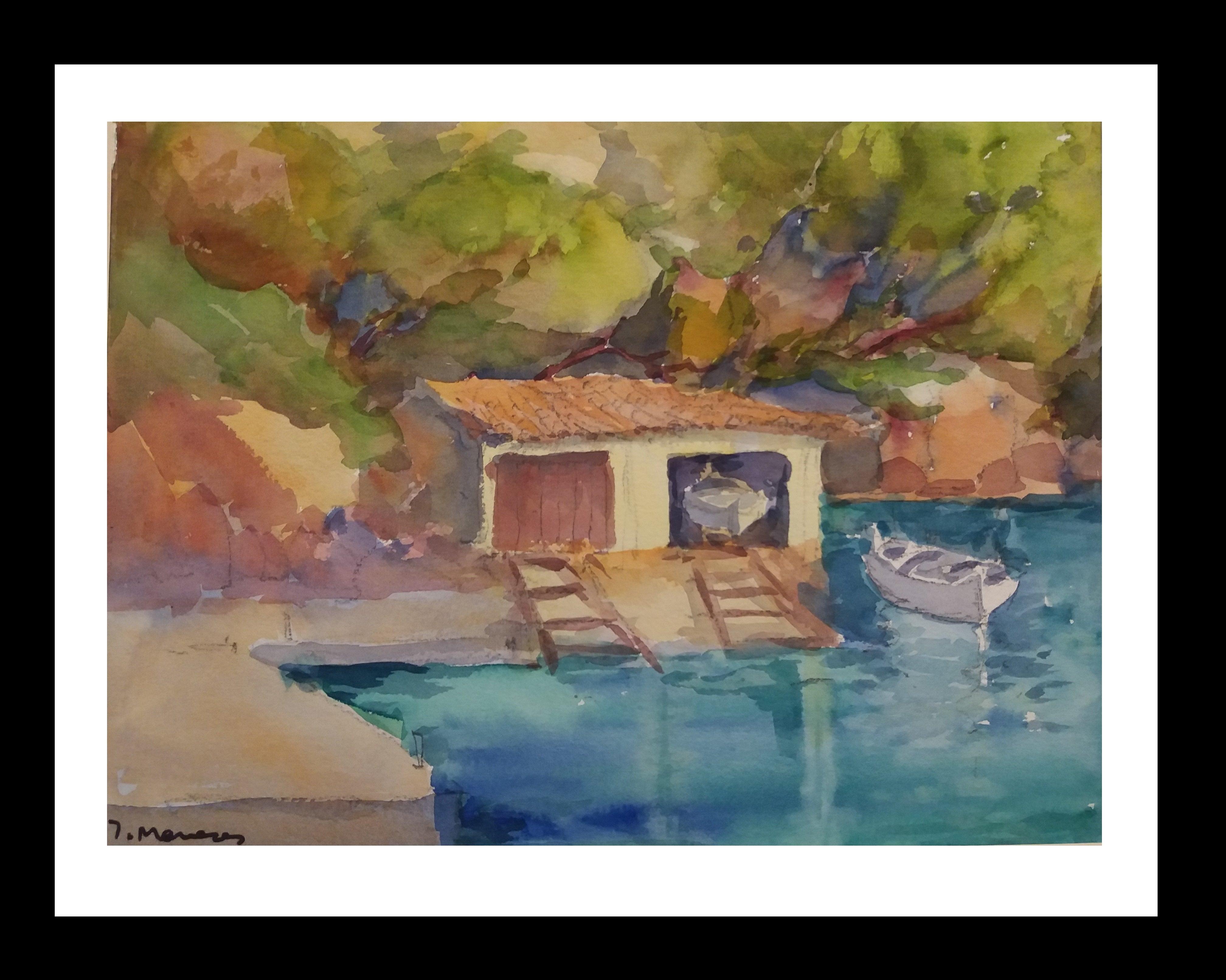 Majorca original watercolor papel impressionist painting