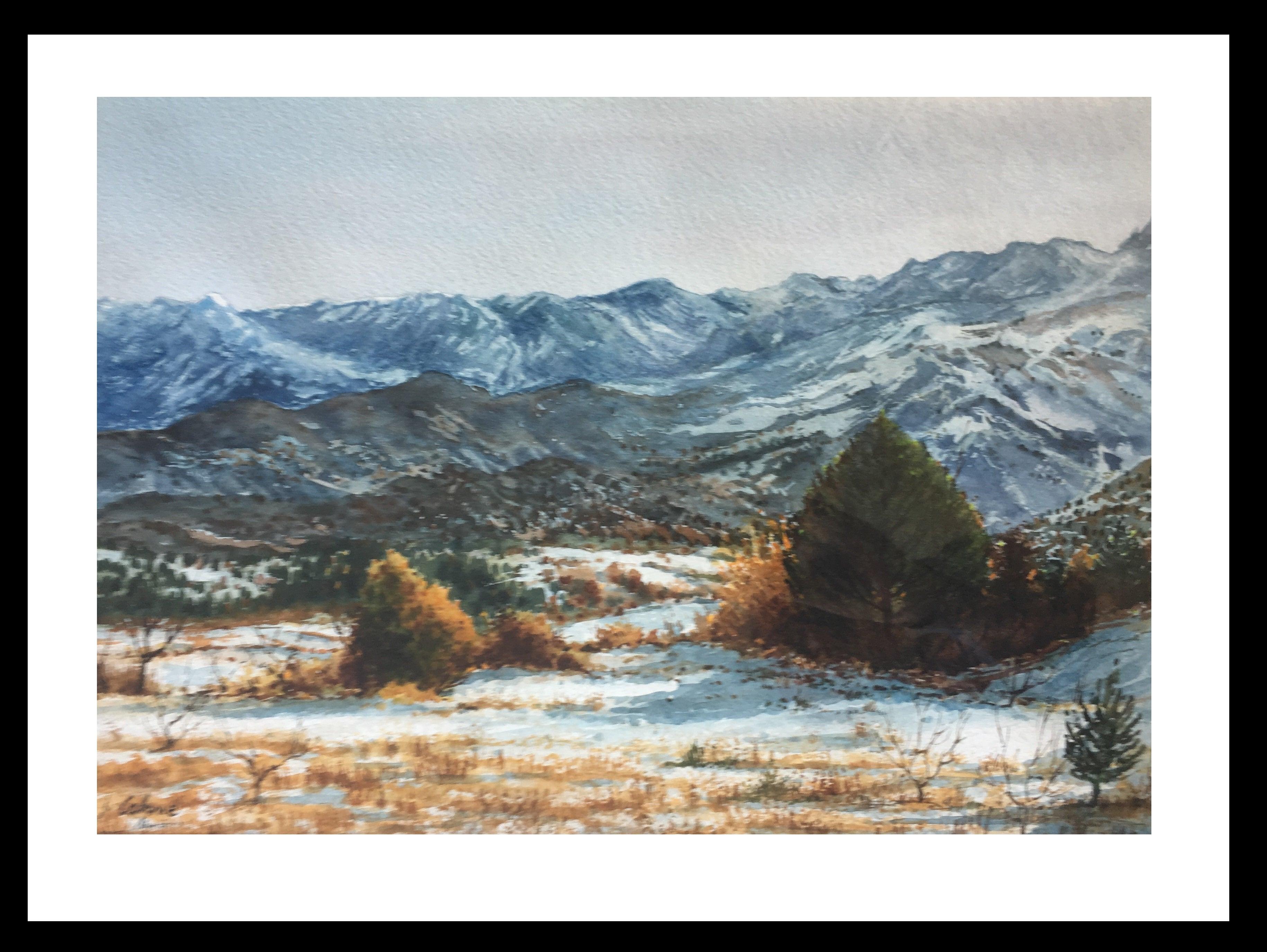 Landscape Pyrenees original realist watercolor painting