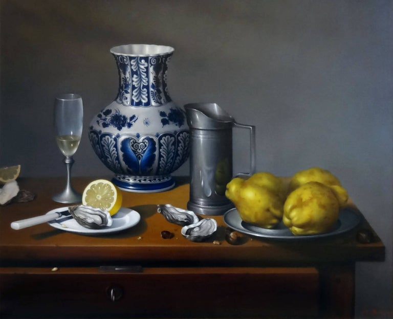 Jean-Yves Boissé Still-Life Painting - Huîtres, Coings et Pot Delft