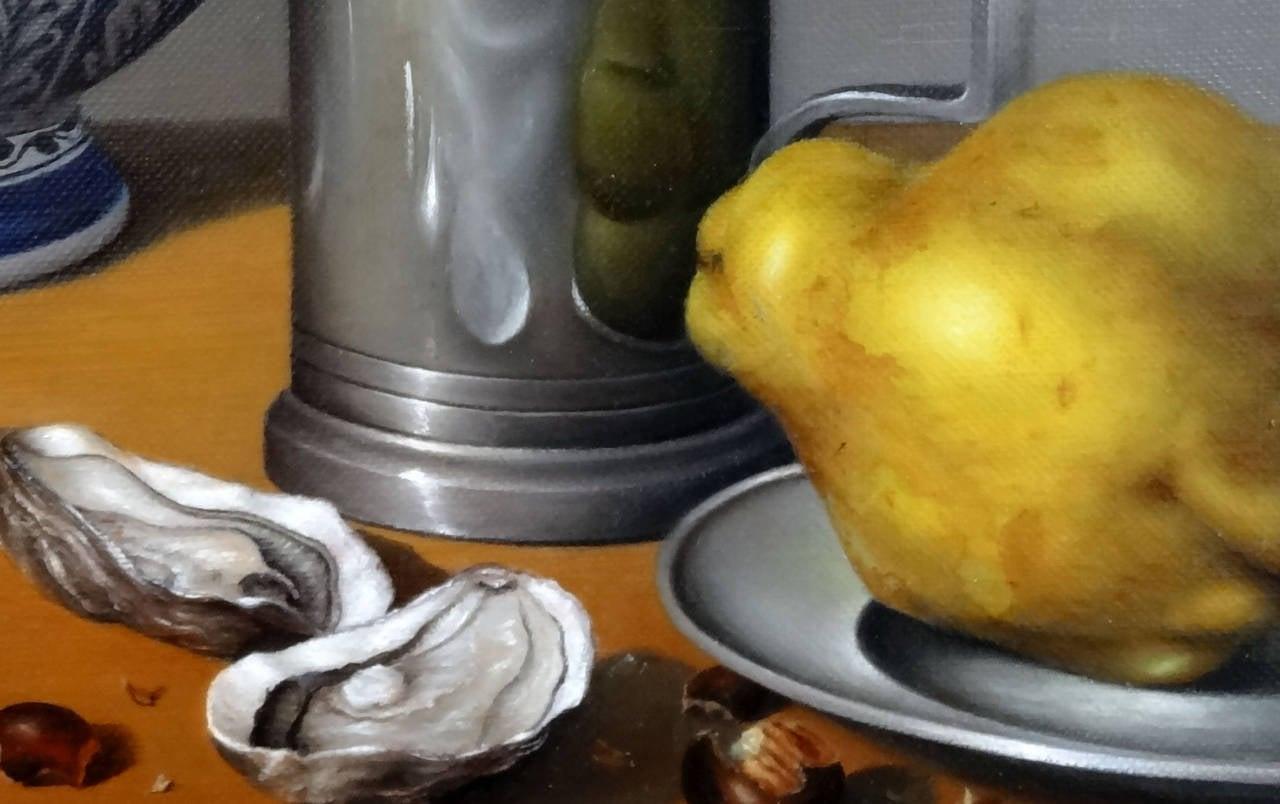 Huîtres, Coings et Pot Delft - Realist Painting by Jean-Yves Boissé