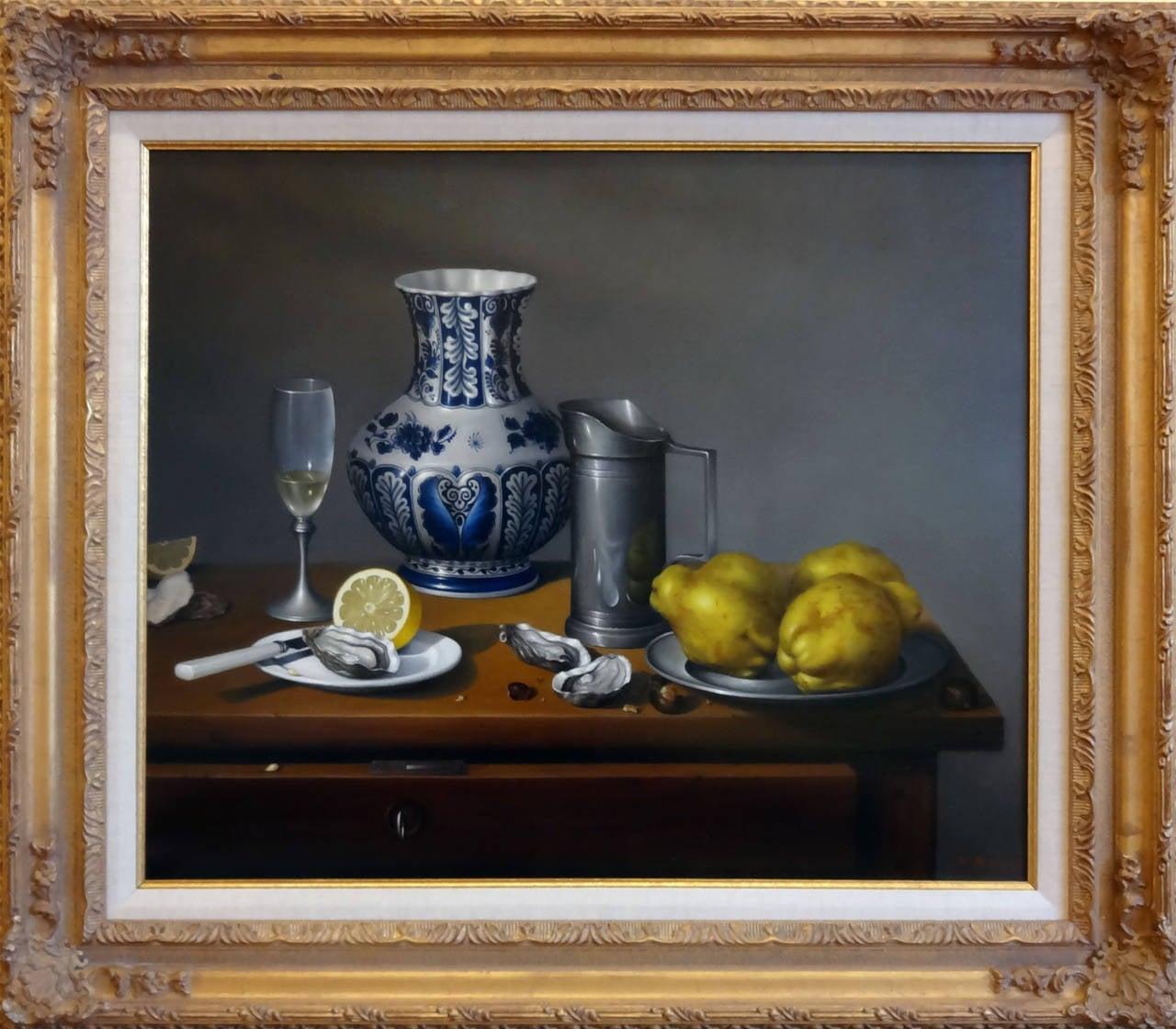 Huîtres, Coings et Pot Delft - Painting by Jean-Yves Boissé