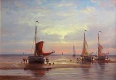 Fishermen Working by Sunset