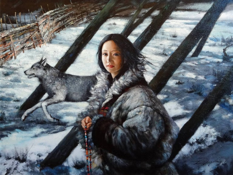 Li Zhong Liang Portrait Painting - Girl With Wolf