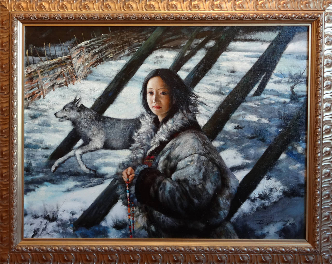 Girl With Wolf - Painting by Li Zhong Liang