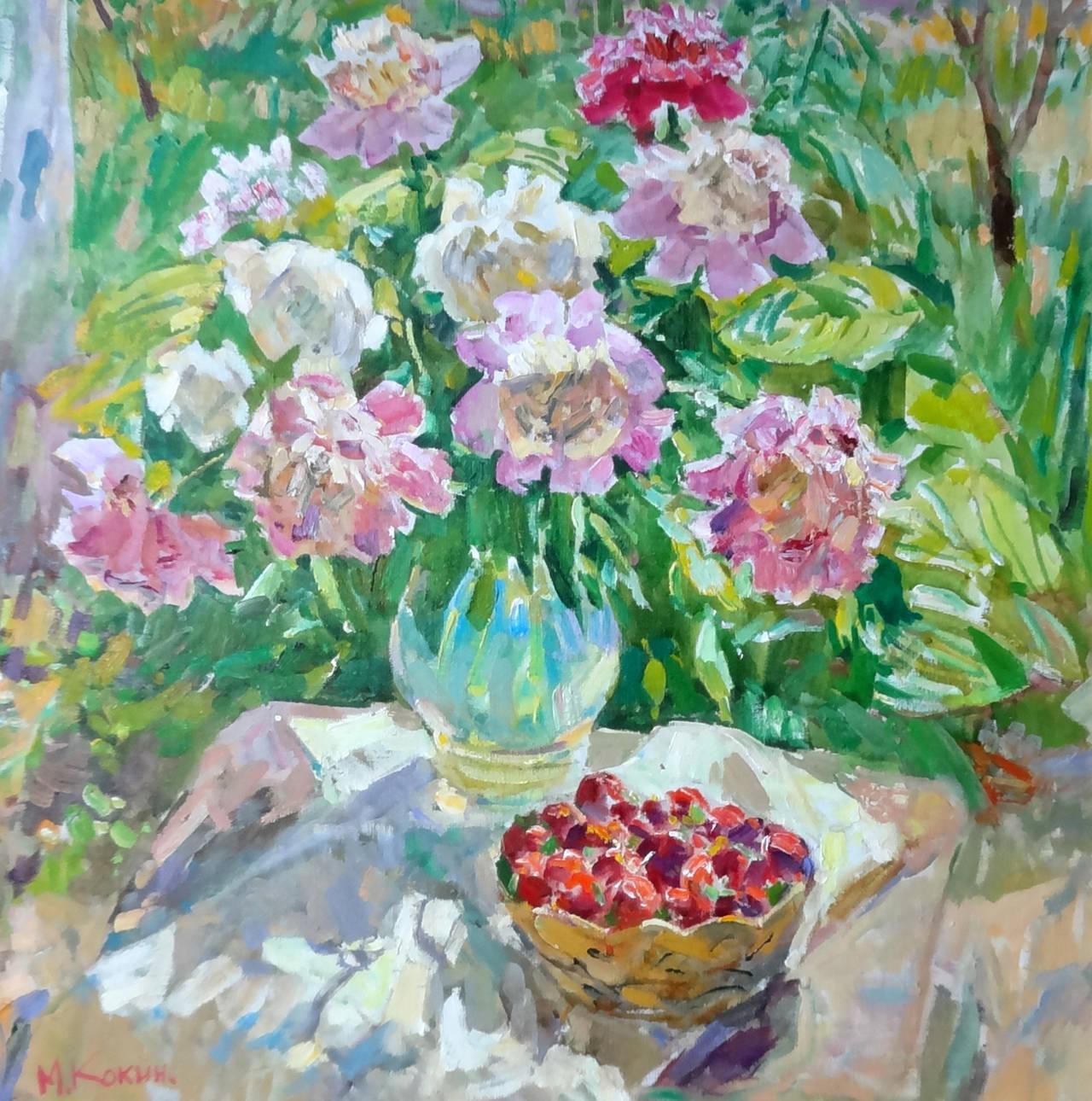 Mikhail Kokin Still-Life Painting - The Strawberry Basket (El Cesto de Fresas)