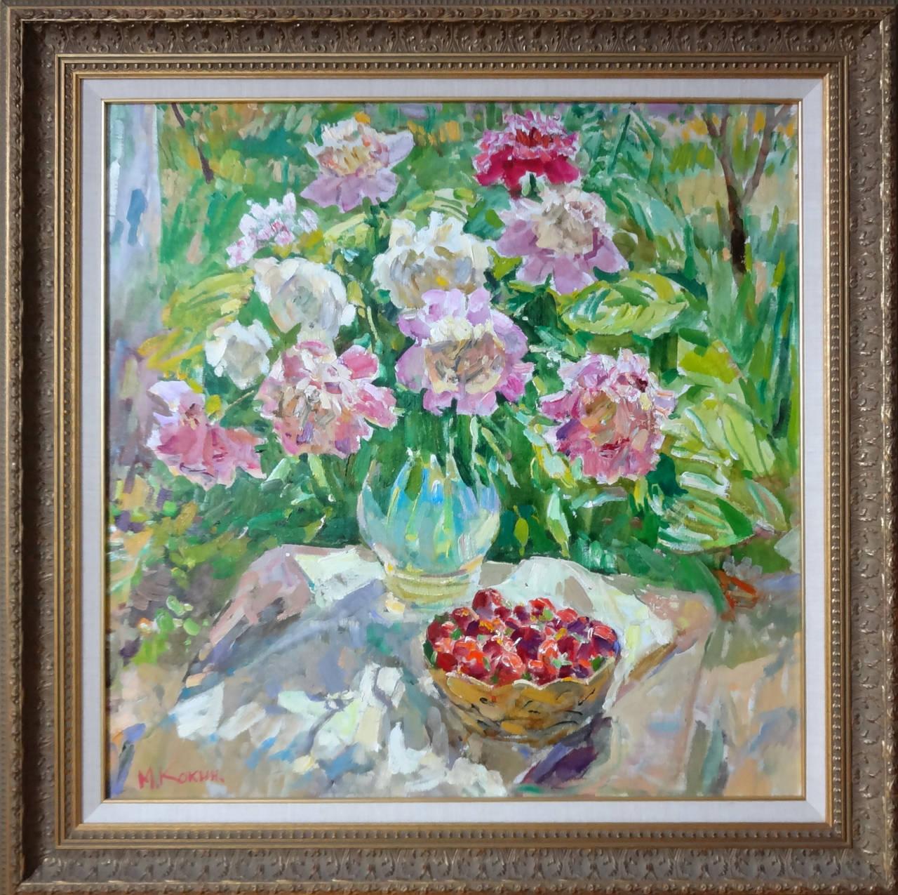 The Strawberry Basket (El Cesto de Fresas) - Painting by Mikhail Kokin