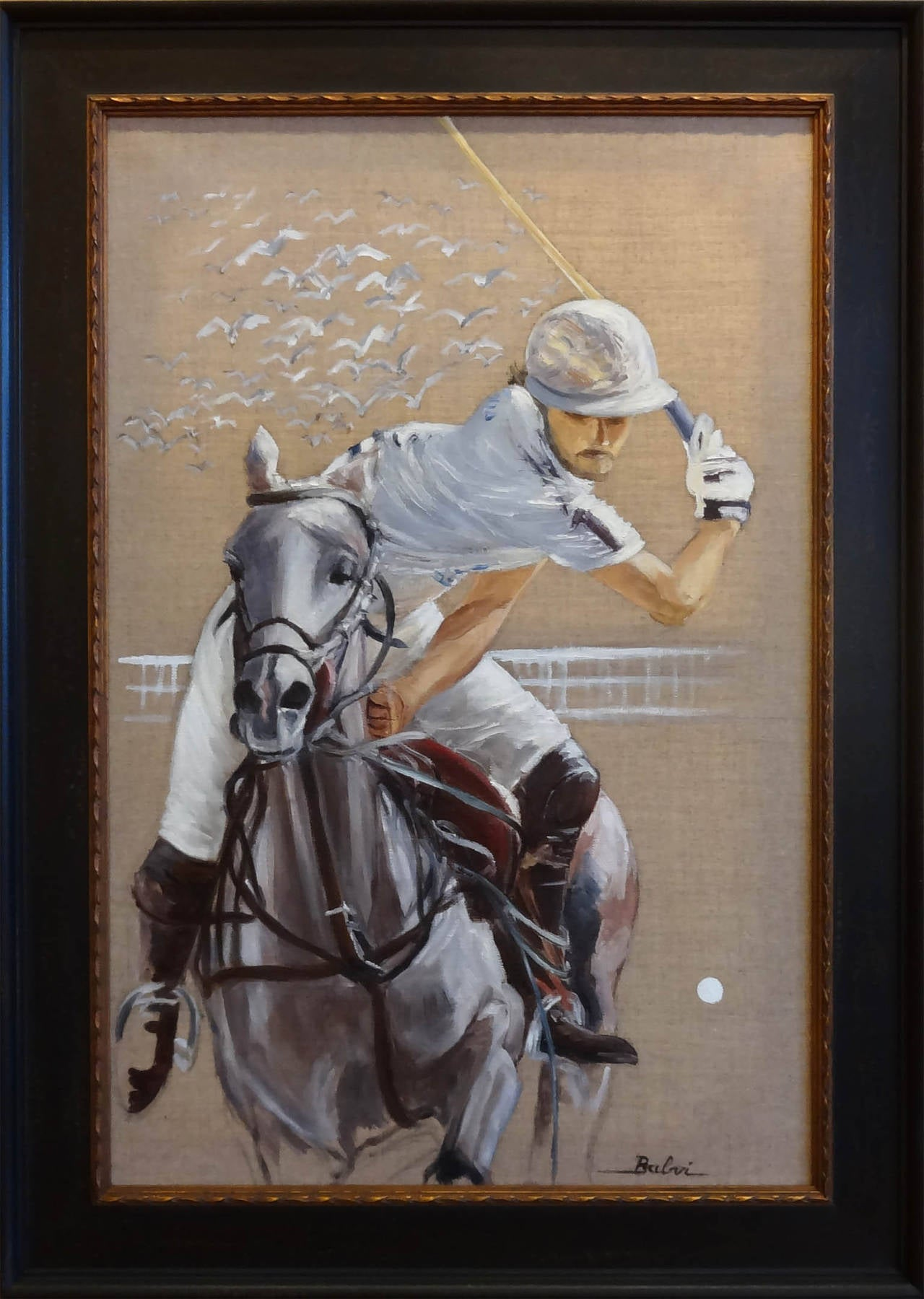 Le Polo Blanc - Impressionist Painting by Simone Balvi