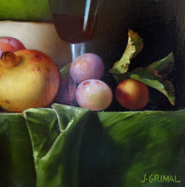Bowl with Fruit and Red Wine (Bol avec Fruits et Vin Rouge) - Realist Painting by Jean Grimal
