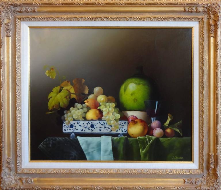 Bowl with Fruit and Red Wine (Bol avec Fruits et Vin Rouge) - Painting by Jean Grimal
