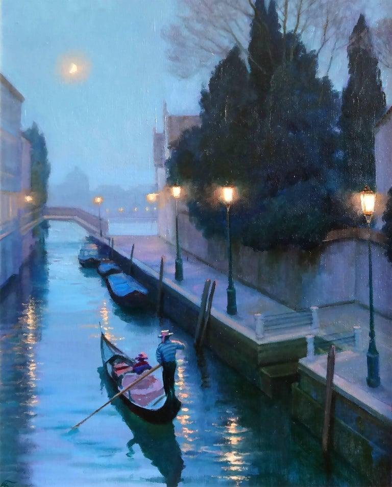 Victoria Bondarenko Landscape Painting - Moonlight in Venice