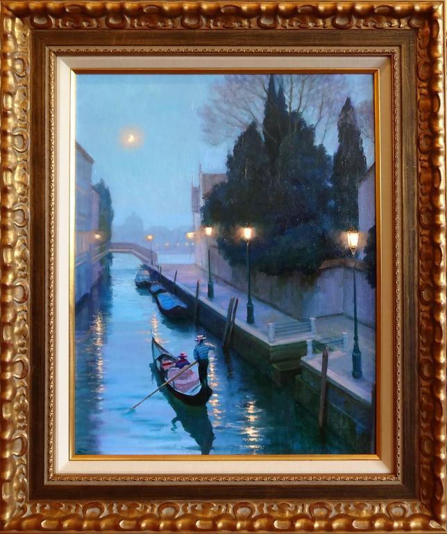 Moonlight in Venice - Painting by Victoria Bondarenko