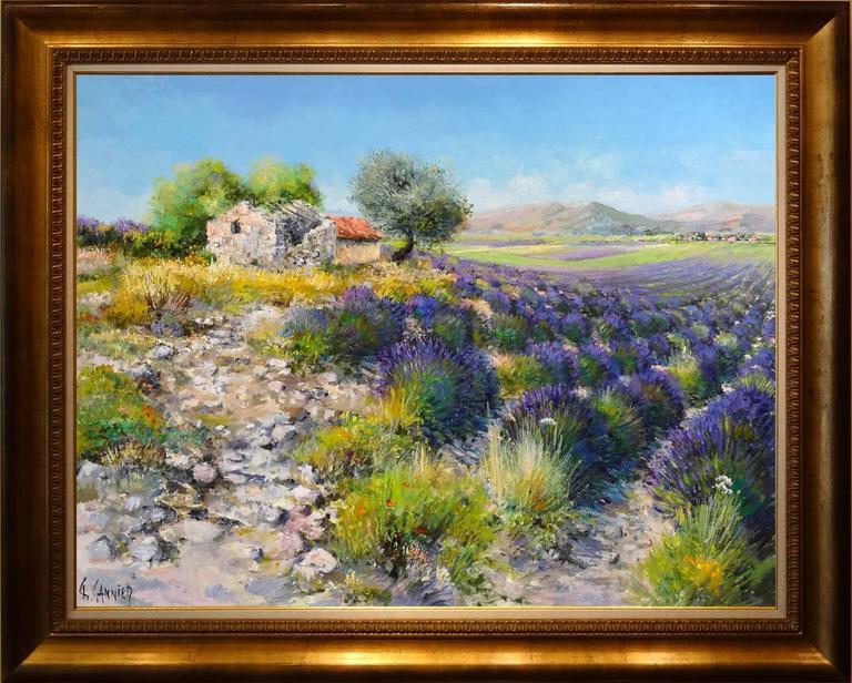 Cabanon dans les Lavandes - Painting by Daniel Sannier