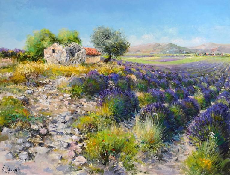Daniel Sannier Landscape Painting - Cabanon dans les Lavandes