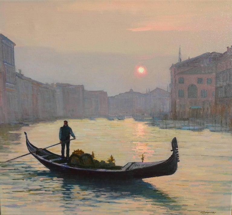 Yuri Bondarenko Figurative Painting - Venice the Evening On the Grand Canal