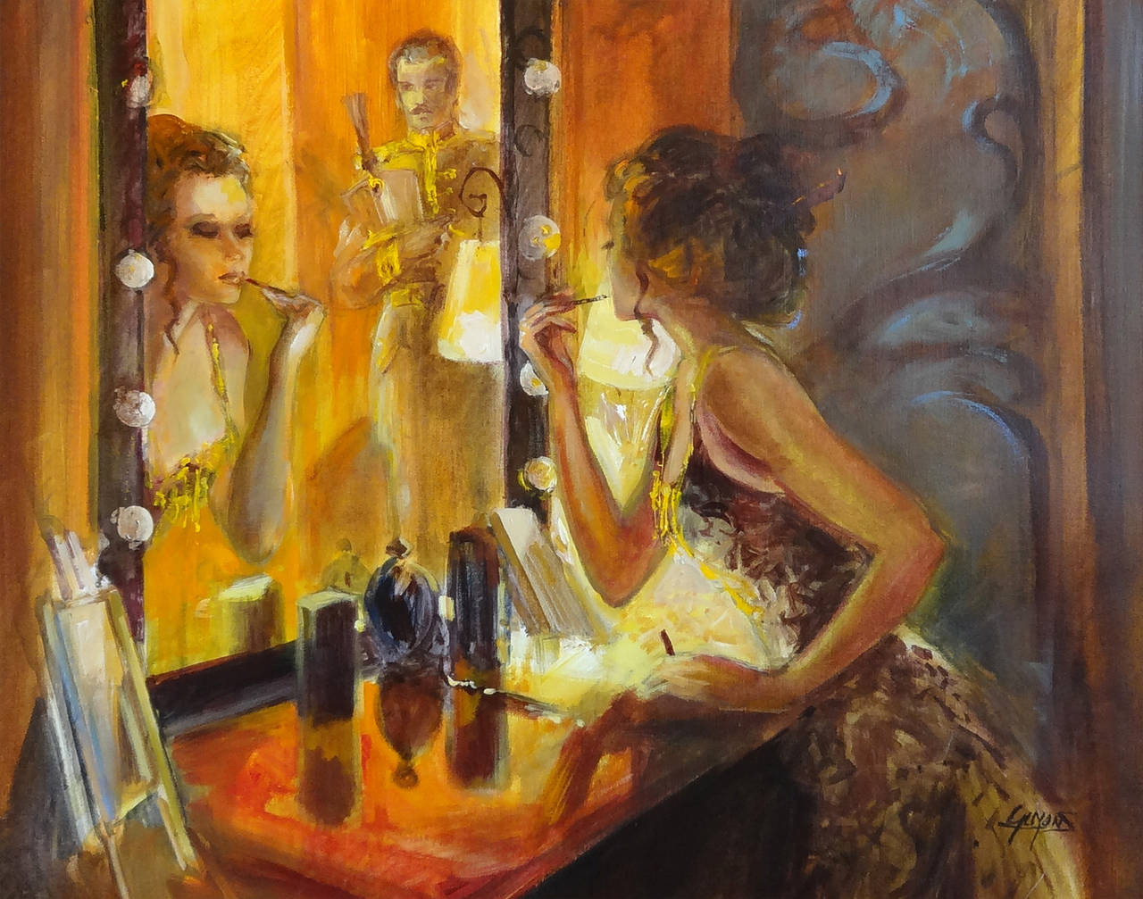 Michel guyon femme au miroir at 1stdibs for Miroir au alouette