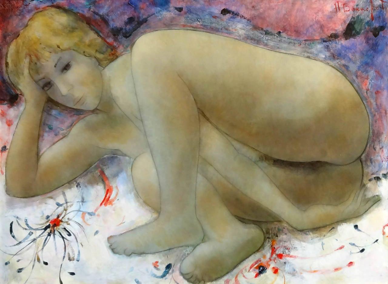 Alain Bonnefoit Nude Painting - Rose