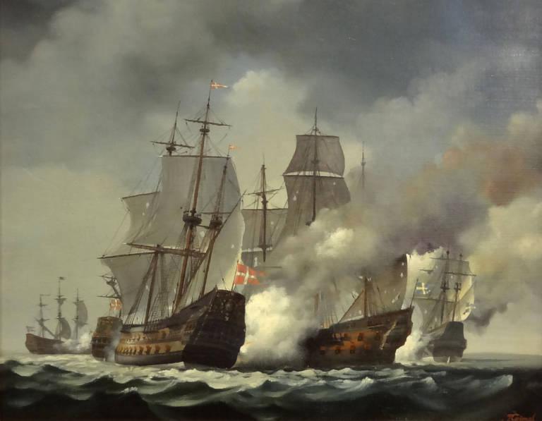 Jean Grimal Landscape Painting - Bataille du Bornholm 1645