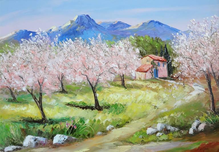 Alain Guirado Landscape Painting - Les Amandiers à Eygaliere