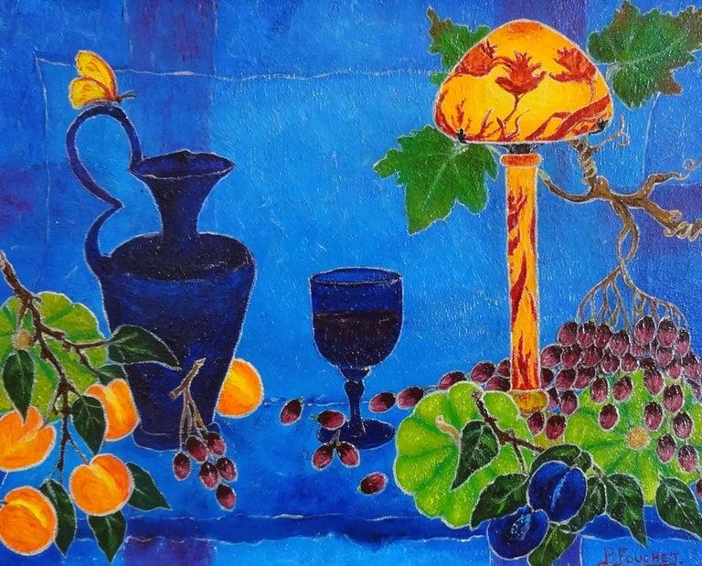 Bernard Fouchet Still-Life Painting - Under the Lamp (Sous la Lampe)