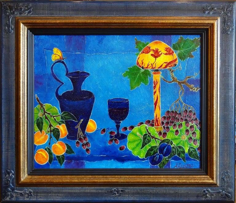 Under the Lamp (Sous la Lampe) - Painting by Bernard Fouchet