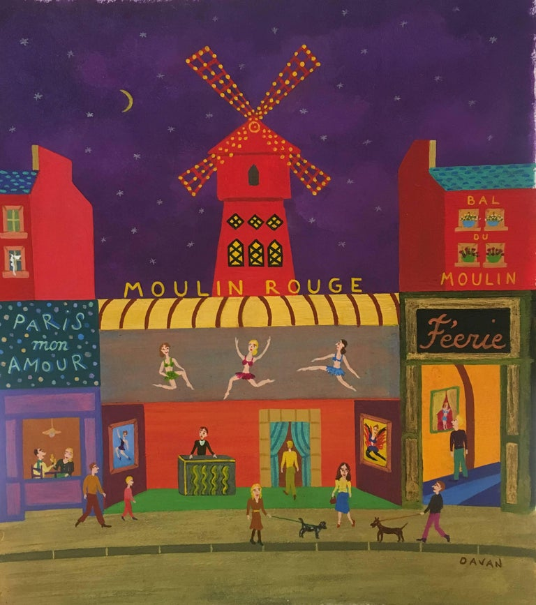 This painting by French artist, Davan, is a unique representation of an iconic scene - Moulin-Rouge in Paris. The petit format piece makes up in size with it's fill of characters and observations. The famous building with it's red windmill and
