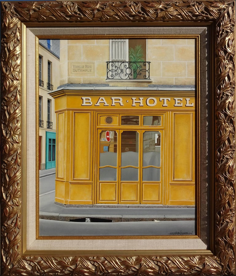 Bar – Hotel - Painting by Angelo Mozziconacci