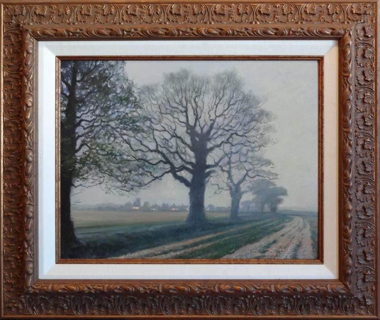 Misty Evening in Hampshire, England - Painting by Victoria Bondarenko