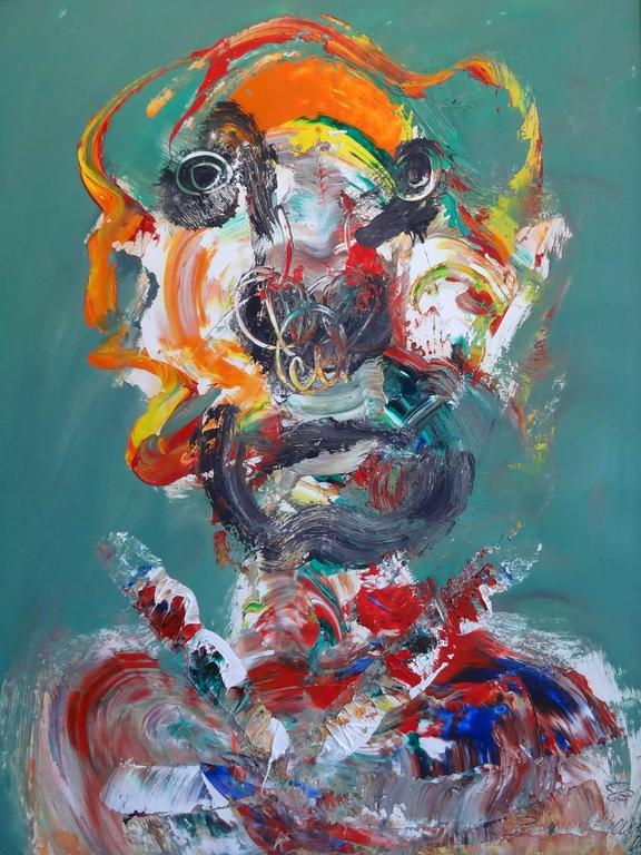 Robert Beauchamp Portrait Painting - Portrait with Green/Orange Dominant