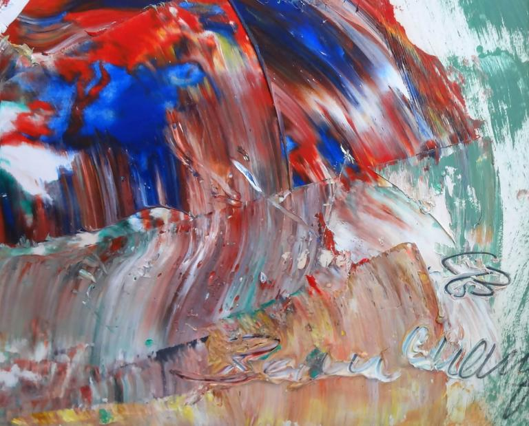 Robert Beauchamp is known for his Expressionistic figurative paintings. This piece is a wonderful example of his unique stylistic approach. He uses heavy impasto and rich colors. The figure has an uncanny air about it. A truly stunning piece.