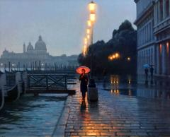 Raining in Venice, Red Umbrella