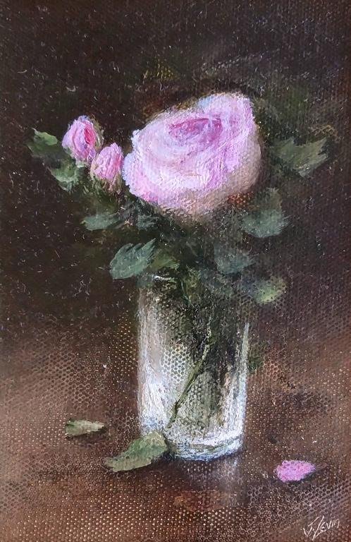 Judith Levin Pink Roses In Vase Painting For Sale At 1stdibs