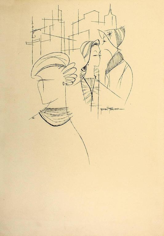 Three Women in New York, Modern Art, Ink on Paper, New York