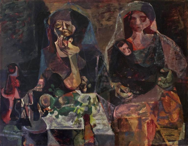 Women and Child, Modern Art, Acrylic on Cardboard, México