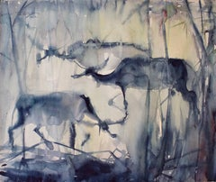 Three Water Buffalo, Modern Art, Watercolor on Paper, México