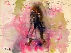 Woman Walking, Modern Art, Watercolor on Paper, México, 1958