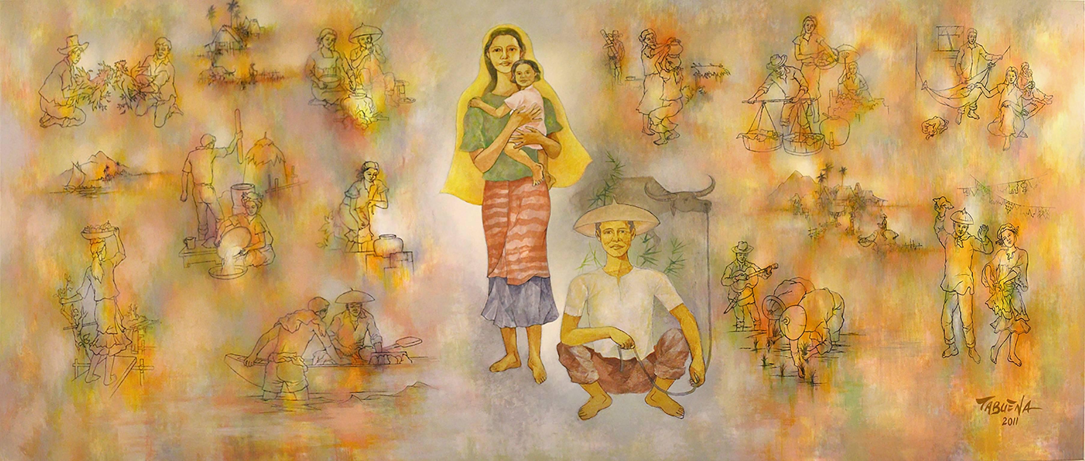 Romeo Villalva Tabuena - Shepherd and Carabaos, Modern Art, Acrylic ...
