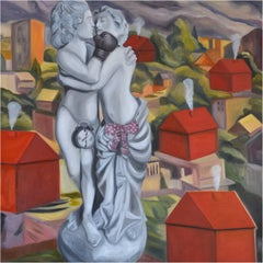 Factories of Love, Oil, Encaustic on Canvas, Contemporary Art