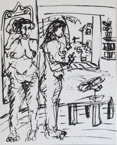 Study, Through Paradise Women in Room, Ink on Paper, Contemporary Art