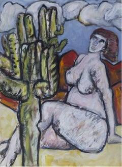 Nude with Cactus, Mixed Media on Paper, Contemporary Art