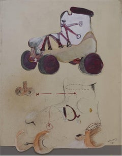 Roller Skate Analysis, Mixed Media Collage, Contemporary Art