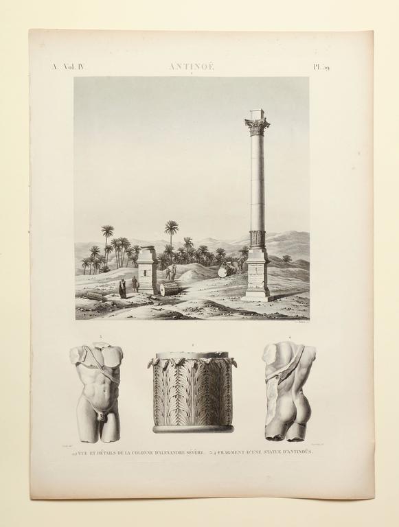 """Francois-Michel Cecile Landscape Print - """"Antinoe"""" Etching from Description de l'Egypte"""