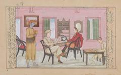 Mughal Drawing of an English Artist in his Studio