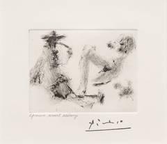 Pablo Picasso - Homme a la Pipe, Jeune Femme nue et Petit Chien