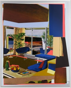 Interior: Blue Couch and Green Owl