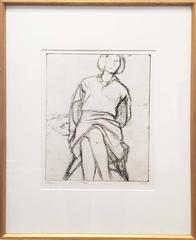 #24 (Phyllis seated in rattan chair) from 41 Etchings Drypoints