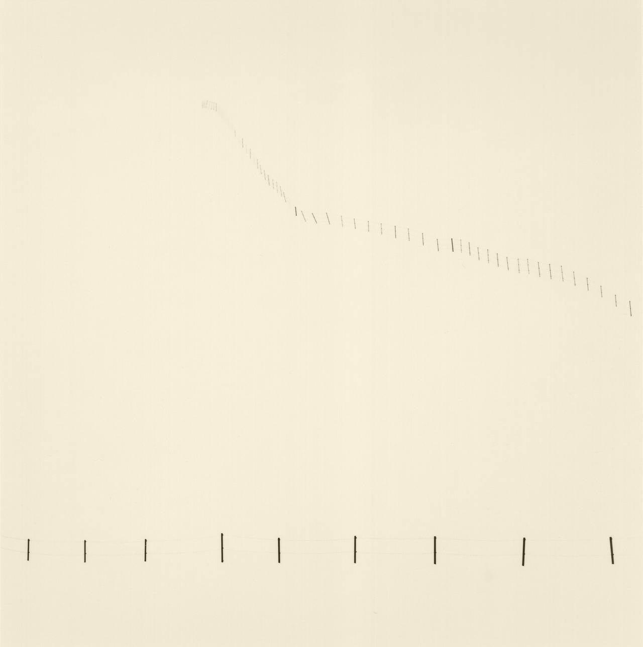 Michael Kenna Black and White Photograph - Hillside Fence, Study 3, Teshikaga, Hokkaido, Japan